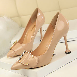 2018 New high heels women pumps 9.5CM thin heel Career Patent leather metal belt buckle Pointed Toe sexy prom wedding shoes - PrettyLadies