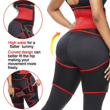 Load image into Gallery viewer, 3 in 1 waist and thigh trimmer Double Compression Belt Leg Support Sweat Sauna Effect Neoprene Waist Trainer Butt Lifter Workout - PrettyLadies