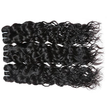 "Load image into Gallery viewer, Allove Brazilian Virgin Hair Water Wave 3 Bundles Wet and Wavy Virgin Brazilian Human Hair Bundles Hair Extensions, 12""14""16"" - PrettyLadies"