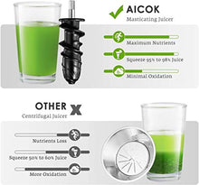 Load image into Gallery viewer, Juicer Machines, Aicok Slow Masticating Juicer Extractor Easy to Clean, Quiet Motor & Reverse Function, BPA-Free, Cold Press Juicer with Brush, Juice Recipes for Vegetables and Fruits - Prett