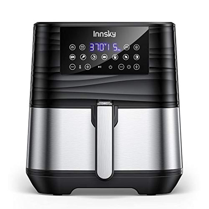 Innsky Air Fryer XL, 5.8 QT, 1700W Electric Stainless Steel Hot Air Fryers Oven for Roasting/Baking/Grilling, LED Touch Digital Screen with 7 Cooking Presets, Preheat& Keep Warm, Appointment
