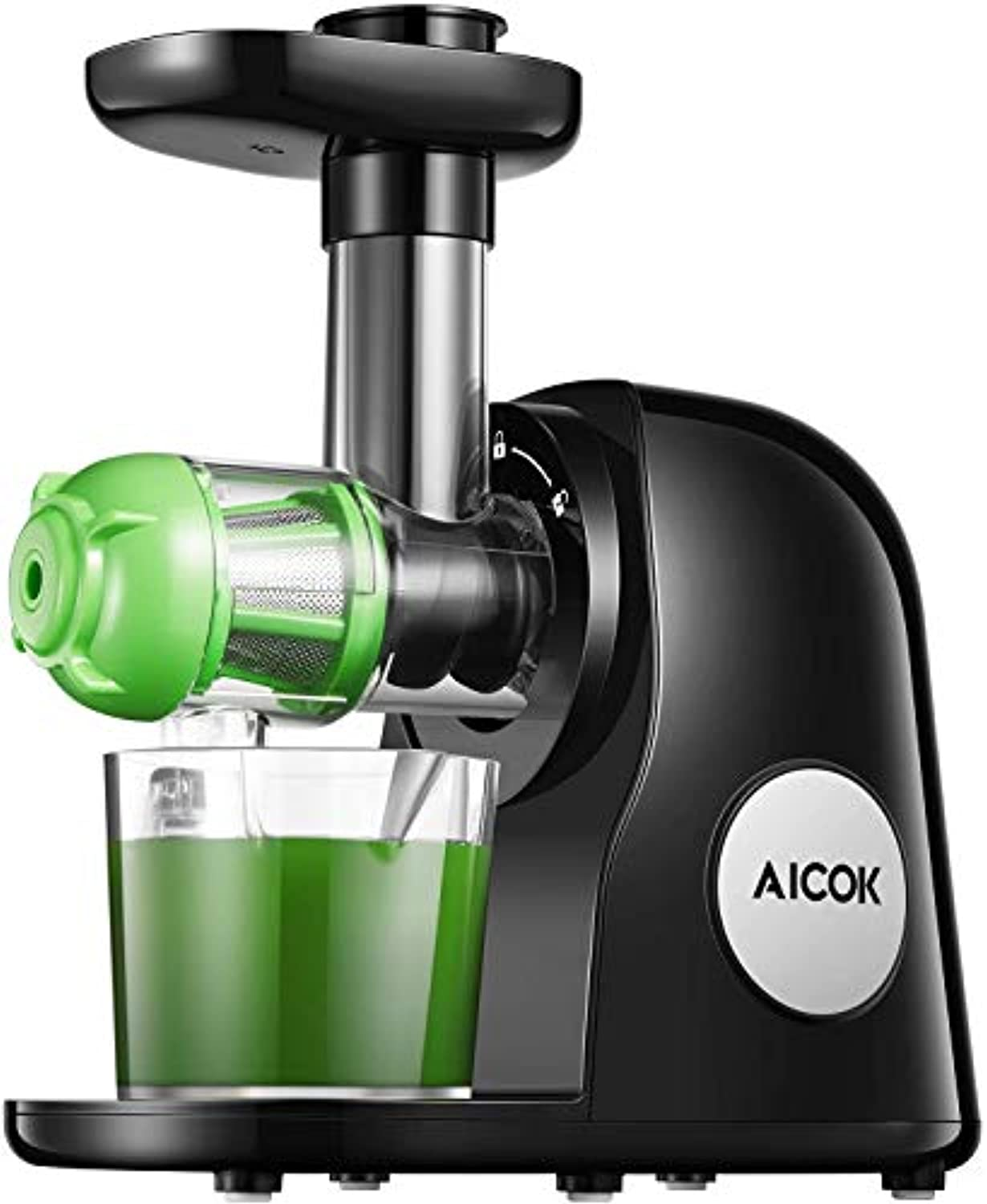 Juicer Machines, Aicok Slow Masticating Juicer Extractor Easy to Clean, Quiet Motor & Reverse Function, BPA-Free, Cold Press Juicer with Brush, Juice Recipes for Vegetables and Fruits - Prett