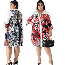 Load image into Gallery viewer, Plus size 4XL 5XL 6XL Women large size shirt dress one-piece dress casual lapel white print skirt fashion loose skirt lady shirt 2559 - PrettyLadies