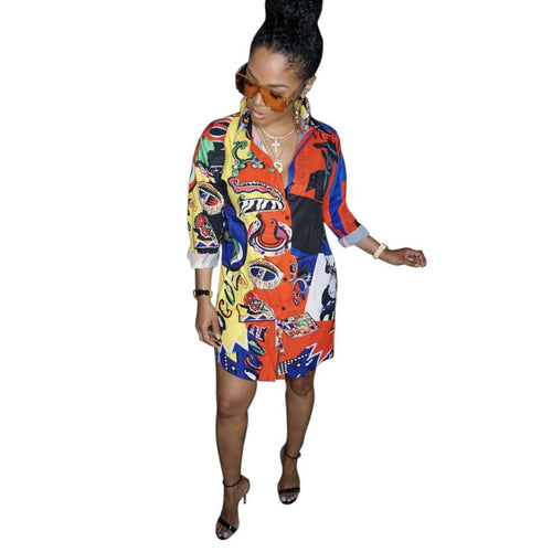 Women Shirt Dresses Long Sleeve Plus Size Summer Street Hip Hop Wind Single-Breasted Printed Mini Short Dresses - PrettyLadies