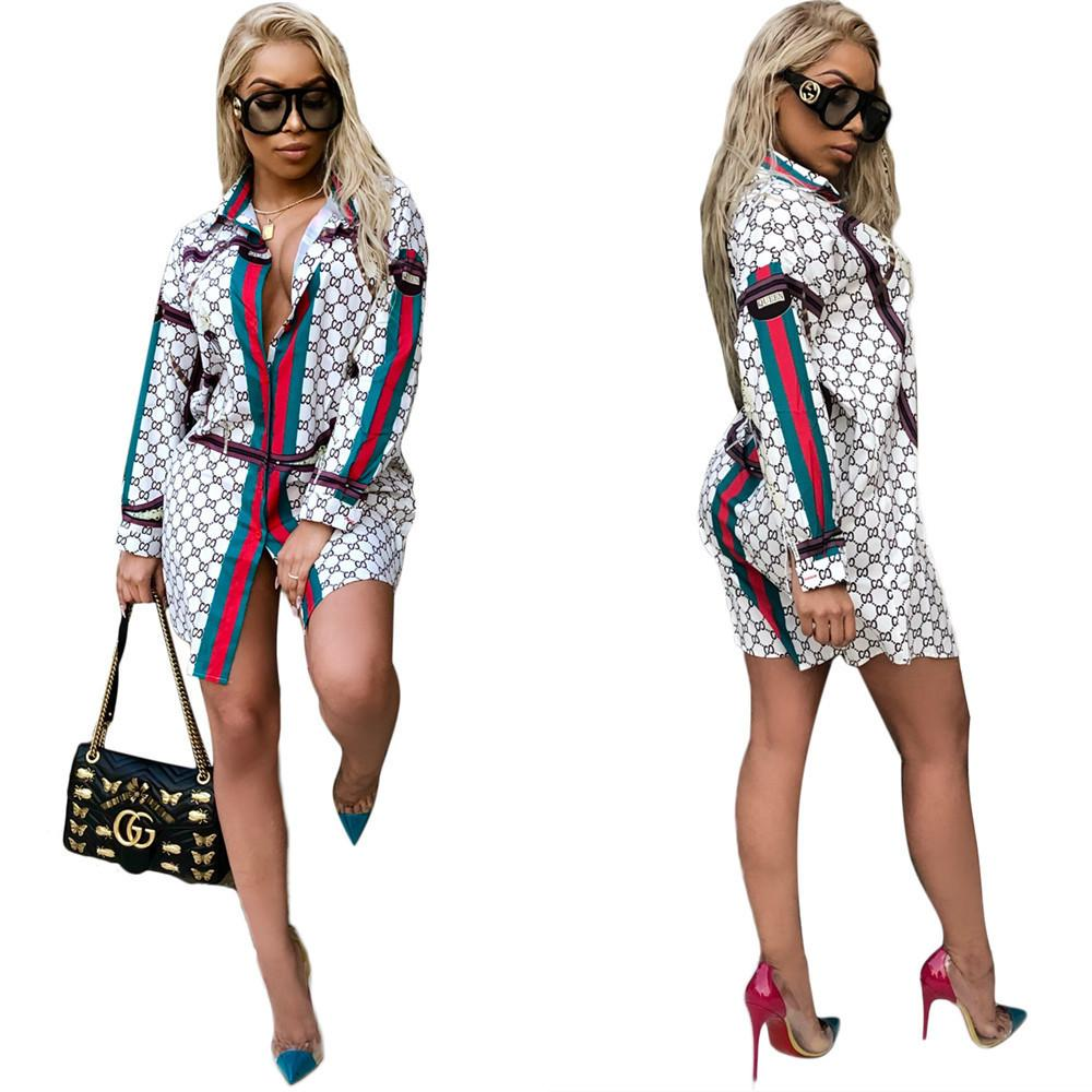 Women 2019 Hot Sale Dresses Fashion Print Casual Lapel Neck Shirt Dresses Long Sleeve Summer Mini Dress Ladies Sexy Skirt 3XL-5XL Plus Size - PrettyLadies