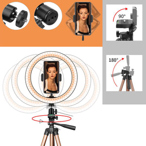 Controllable 6 inch 10 inch LED Selfie Ring Light  Tripod Stand Phone Holder Photography YouTube Video Makeup Live Stream with Remote Shutter for iPhone Android Smart Phones - PrettyLadies