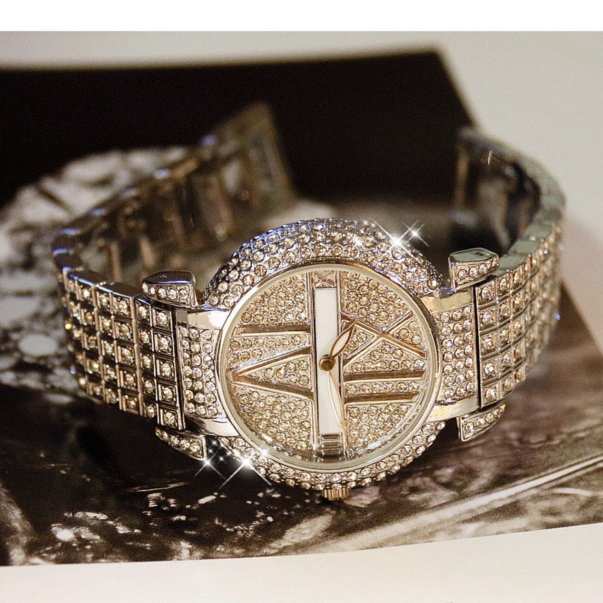 Luxury Diamond Women Watches Fashion Brand Stainless Steel Bracelet Wrist Watch Women Design Quartz - PrettyLadies