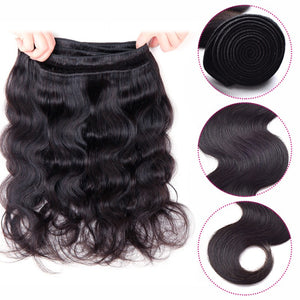 "Beroyal Bundles with Closure Body Wave with Closure Brazilian Virgin Human Hair with Closure Free Part Natural Color, 16""18""20"" with 16"" - PrettyLadies"