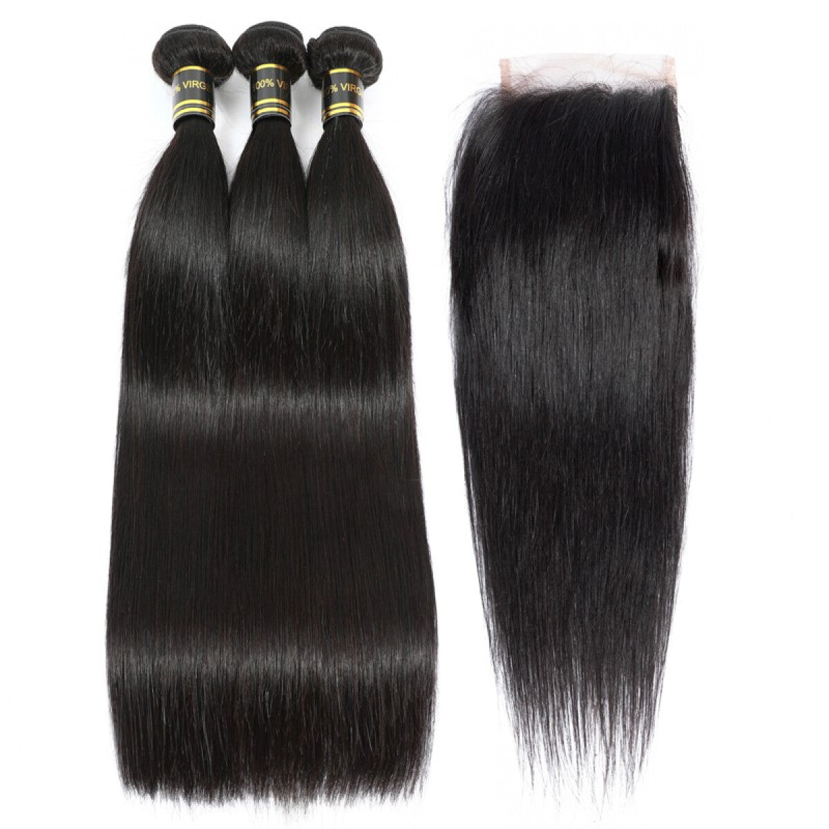 Beroyal Straight Hair 3 Bundles with Closure Free Part Brazilian Virgin Human Hair, 16