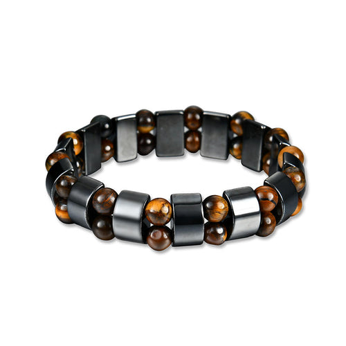 Simple Style Black Magnet Stone Chain Tiger's Eye Beads Health Care Bracelet for Men Women - 55mm - PrettyLadies