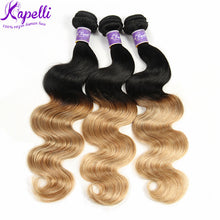 "Load image into Gallery viewer, Kapelli Ombre Brazilian Hair Body Wave 3 Bundles Virgin Hair Human Weave Two Tone Black to Blonde T1B/27, 14""16""18"" - PrettyLadies"