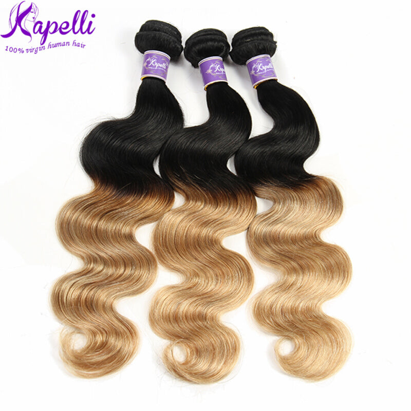 Kapelli Ombre Brazilian Hair Body Wave 3 Bundles Virgin Hair Human Weave Two Tone Black to Blonde T1B/27, 14