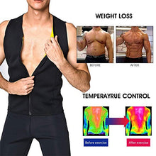 Load image into Gallery viewer, CXZD Men Neoprene Sauna Suit Hot Body Shaper Corset for Weight Loss with Zipper Waist Trainer Vest Tank Top Workout Shirt - PrettyLadies