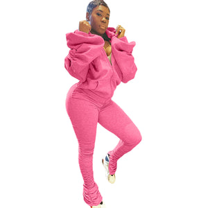 2020 New Arrivals Fashion Women Casual Hooded Backless Flared Sleeve Jacket Stacked Leggings 2 Pieces Set Outfits Tracksuit - PrettyLadies