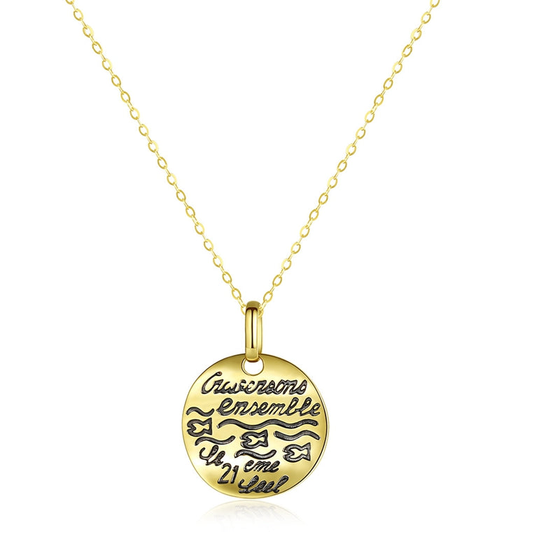14K Real Gold Necklace Disk Hammered Pendant Necklace Personalized Word Engraved Monogram Coin Disc Necklace - PrettyLadies
