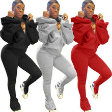 Load image into Gallery viewer, 2020 New Arrivals Fashion Women Casual Hooded Backless Flared Sleeve Jacket Stacked Leggings 2 Pieces Set Outfits Tracksuit - PrettyLadies