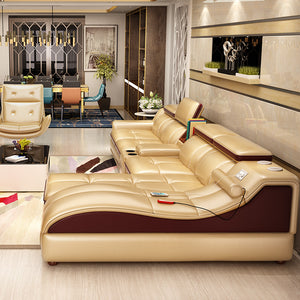 Leather Living Room Sofa Set Home Furniture Modern Design Frame Soft Sponge L Shape Home Furniture - PrettyLadies