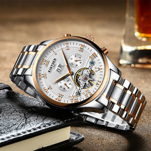 Load image into Gallery viewer, KINYUED Fashion Clock Movement Mechanical Male Wrist Watch Automatic Mens Watch Tourbillon - PrettyLadies