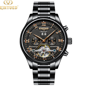 KINYUED Fashion Clock Movement Mechanical Male Wrist Watch Automatic Mens Watch Tourbillon - PrettyLadies