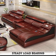 Load image into Gallery viewer, Leather Living Room Sofa Set Home Furniture Modern Design Frame Soft Sponge L Shape Home Furniture - PrettyLadies