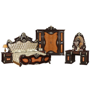American King Size Double Carved Bed - PrettyLadies