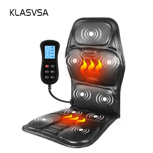 KLASVSA Electric Portable Heating Vibrating Back Massager Chair In Cussion Car Home Office Lumbar Neck Mattress Pain Relief - PrettyLadies