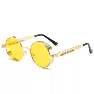Men And Women Classic Steampunk Sunglasses Men And Women Sunglasses Luxury Brand Retro Round Sunglasses Metal Glasses Retro - PrettyLadies
