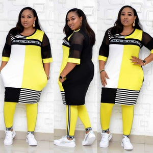 New African Clothes For Women Two Piece Sets Long Tops Skinny Pants Matching Set Mesh Patchwork Tracksuit Set Plus Size 4XL 3XL - PrettyLadies