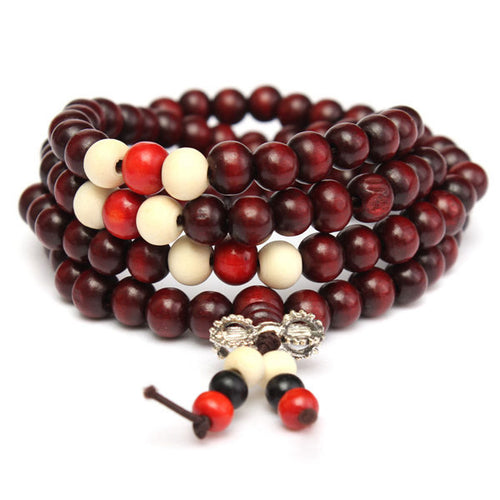 108Pcs 8mm Multilayer Sandalwood Buddha Prayer Beads Bracelet Necklace - 1 - PrettyLadies