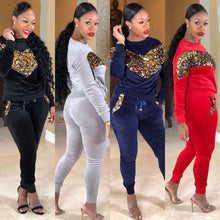 Load image into Gallery viewer, Sequin Velvet Tracksuits Women Set Autumn Winter Outfits Long Sleeve Hoodie Top+Pant Sweat Suit Velour 2 Piece Sweatsuit - PrettyLadies