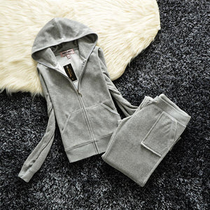 Spring/Fall 2019 Women's Brand Velvet Fabric Tracksuits Velour Suit Women Track Suit Hoodies And Pants fat sister sportswear - PrettyLadies