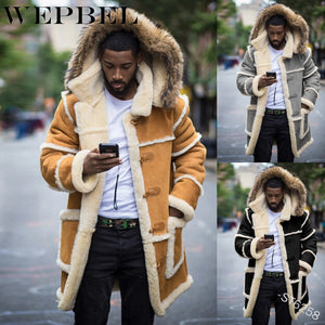 WEPBEL Men Casual Fur Hooded Coat Patchwork Fur Parka Faux Fur Lining Warm Jackets Men Long Winter Jacket Outwear - PrettyLadies