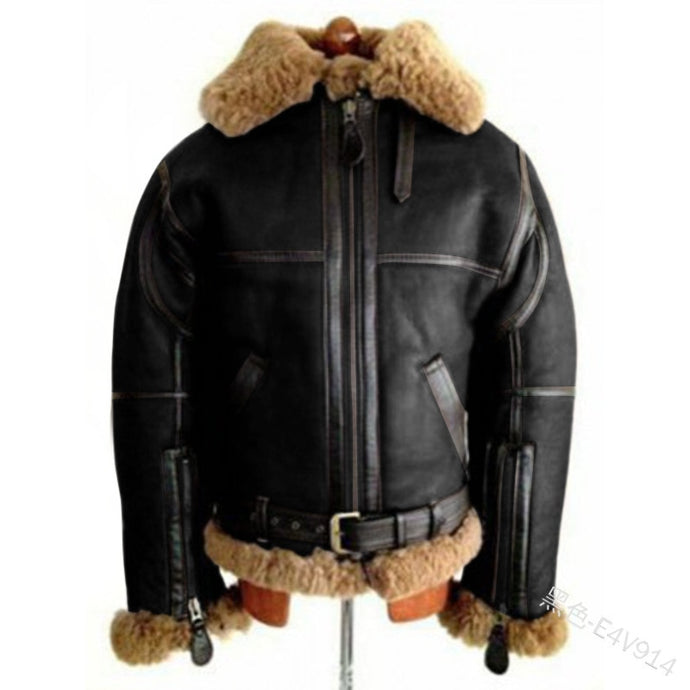 WEPBEL Winter Men's PU Leather Jacket Mens Fleece Fur Collar Motorcycle Jackets Casual Outdoor Thermal Leather Coats - PrettyLadies
