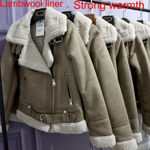 Load image into Gallery viewer, Winter New Women Thick Warm Vintage Suede Lambswool Biker Jackets Coat Chic Sashes Casual Loose Faux Leather Outwear Tops Female - PrettyLadies