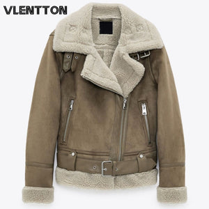 Winter New Women Thick Warm Vintage Suede Lambswool Biker Jackets Coat Chic Sashes Casual Loose Faux Leather Outwear Tops Female - PrettyLadies