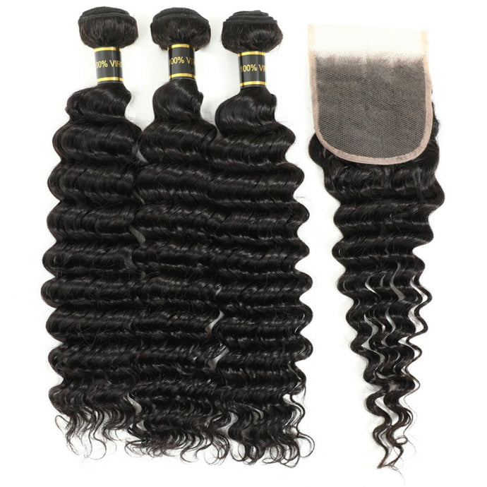 Beroyal Human Hair Deep Wave 3 Bundles with Closure Free Part Malaysian Virgin Hair Deep Wave with Closure, 16