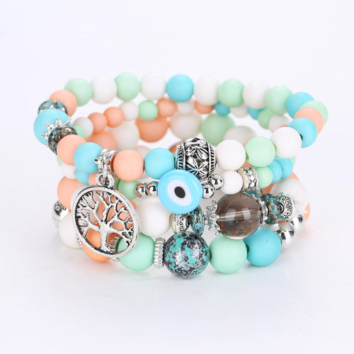 Bohemian Hollow Tree of Life Elastic Beads Multilayer Bangle Bracelet Gift for Women - Colorful - PrettyLadies