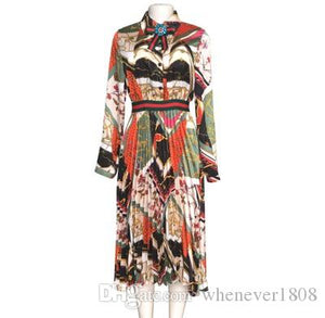 New Arrival Printed Shirt Pleated DressES For Women Lapel Neck Long Sleeve Midi African Women Dresses Plus Size Dress P632 - PrettyLadies