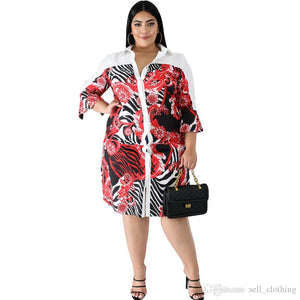 Plus size 4XL 5XL 6XL Women large size shirt dress one-piece dress casual lapel white print skirt fashion loose skirt lady shirt 2559 - PrettyLadies