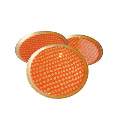 Coaster - Golden dot - Orange - 6st