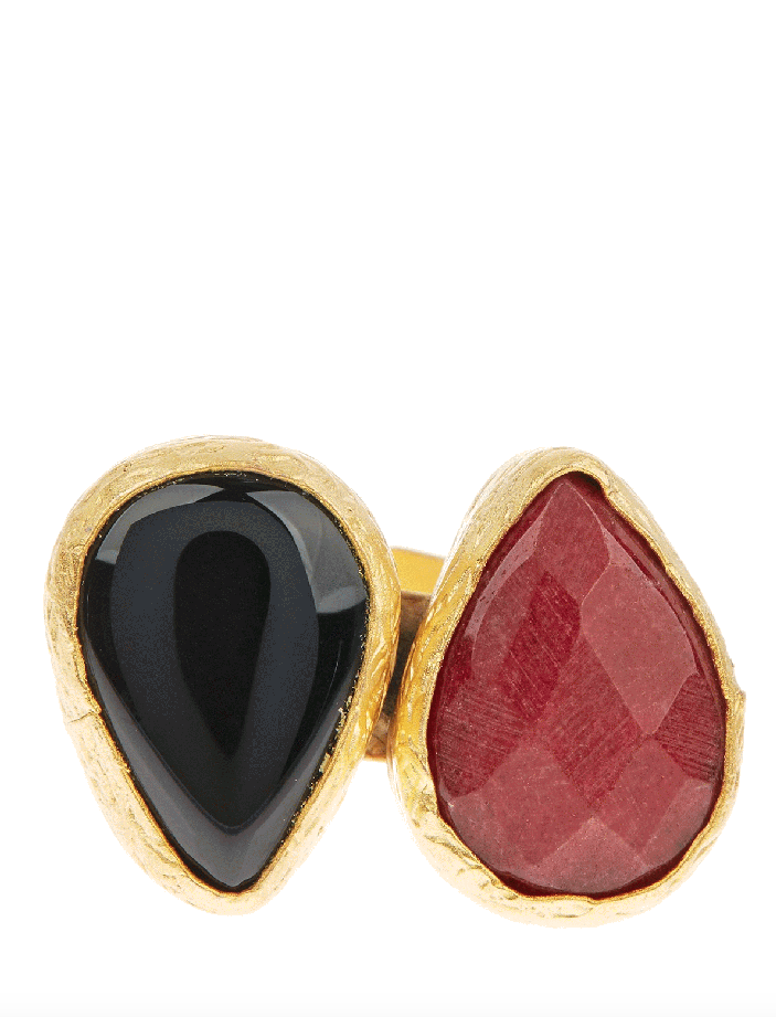 Double Cluster Teardrop Ring- Ruby & Black Onyx