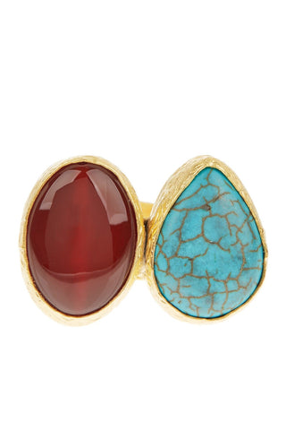 Double Cluster Ring- Turquoise & Carnelian