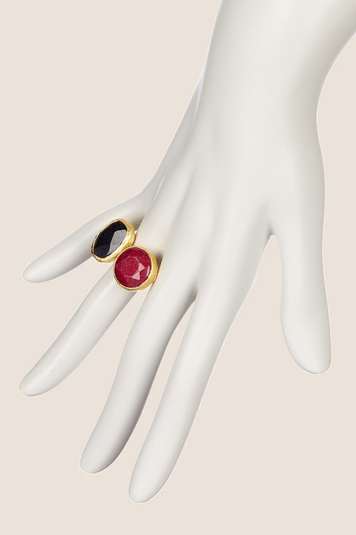Double Cluster Ring- Ruby & Black Onyx