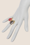 Double Cluster Ring-Ruby & Black Onyx