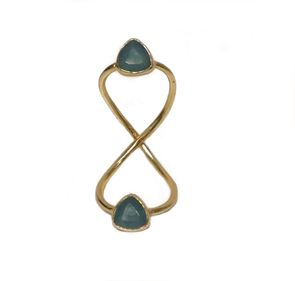 Long Double Ring-Aqua Chalcedony