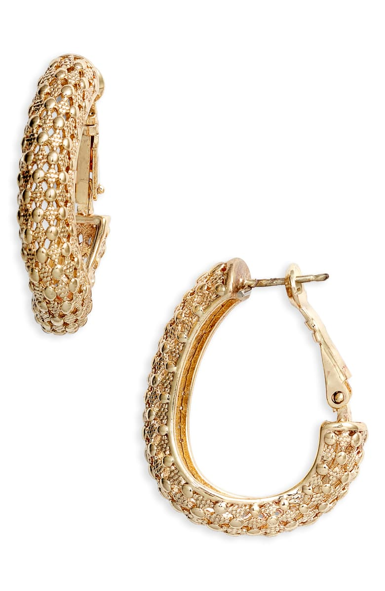 Textured Oval Hoop Earrings