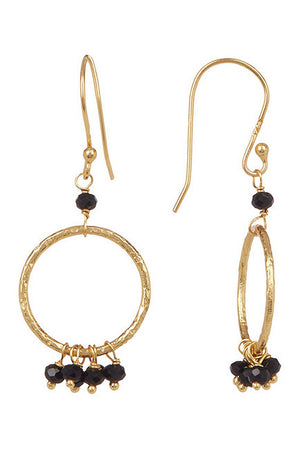 Paris Circle Dangle Earrings - Black Onyx