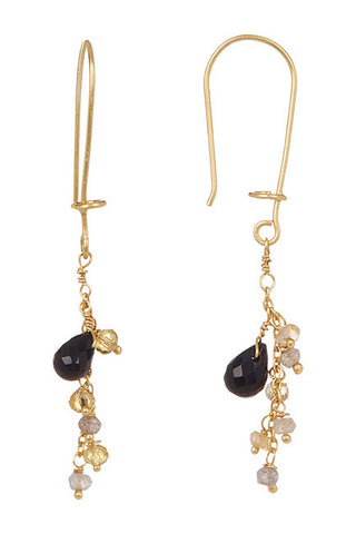 Paris Dangle Earring-Citrine, Labradorite & Black Onyx