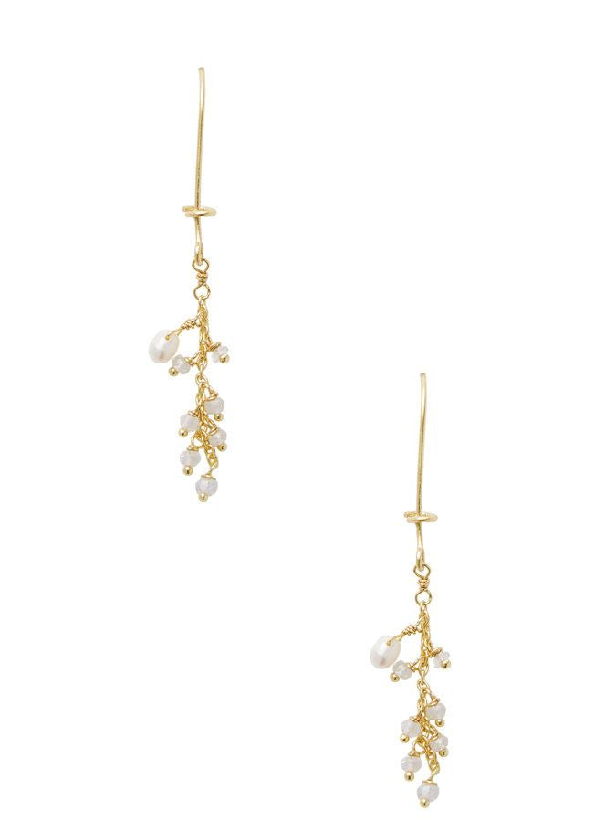 Chantilly Pearl & Moon Stone Dangle Earrings