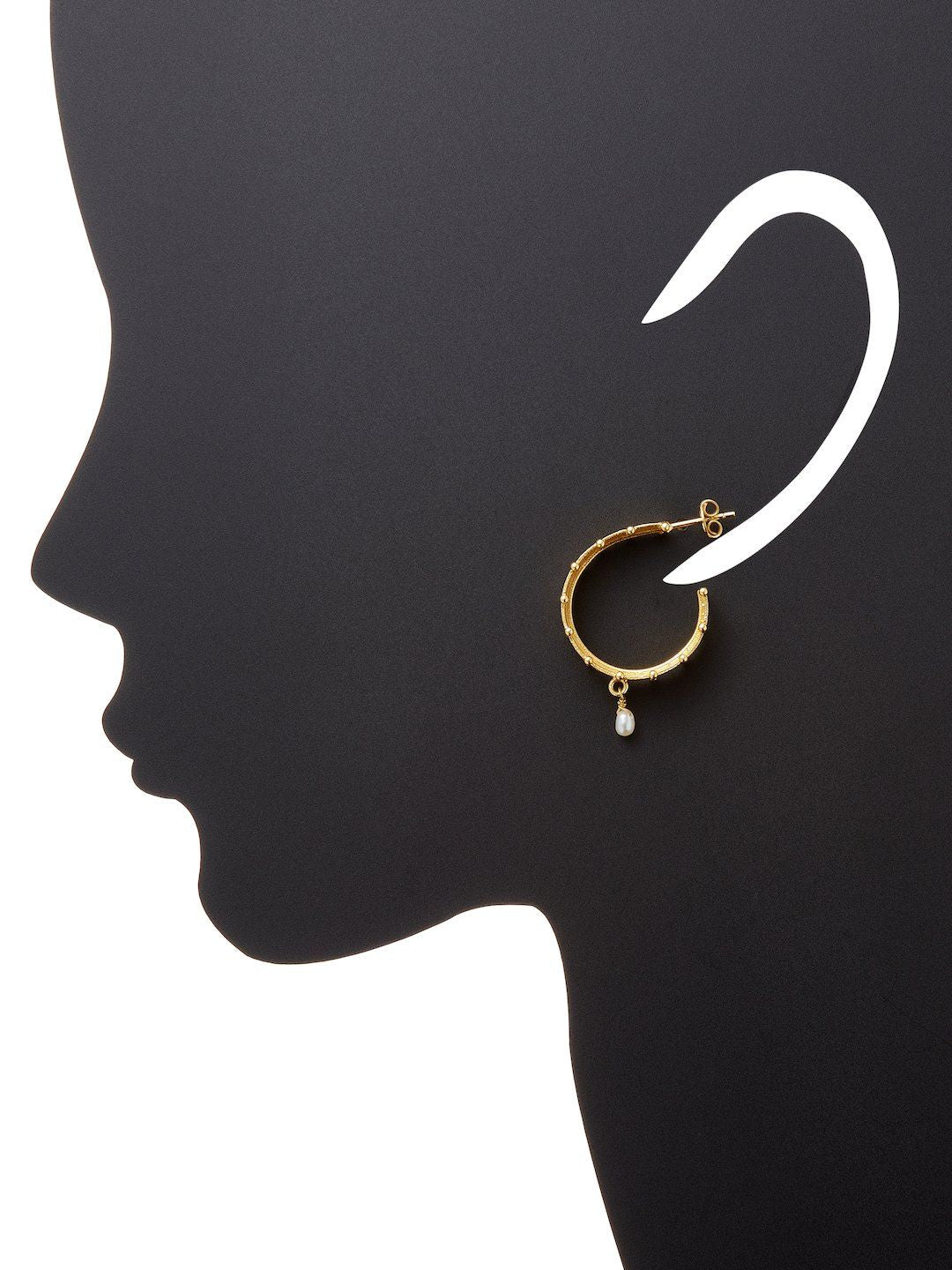 Chantilly Wide Hoop and Fresh Water Pearl Earring